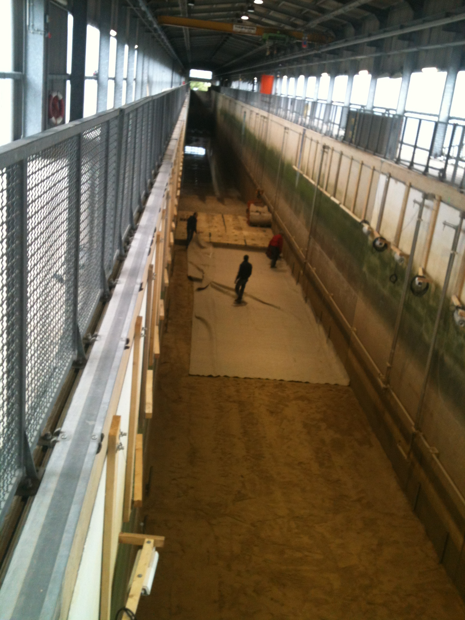 Laying of the geotextile